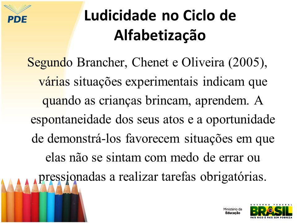 Ludicidade no Ciclo de Alfabetização Segundo Brancher, Chenet e Oliveira (2005), várias situações experimentais indicam que quando as crianças brincam