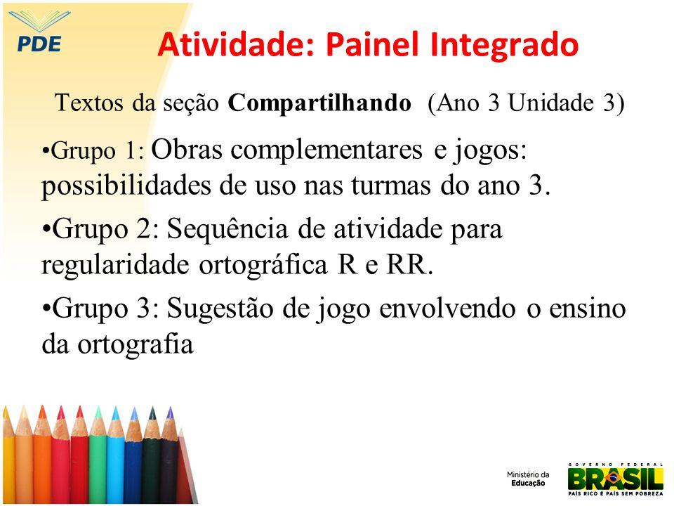 Atividade: Painel Integrado Textos da seção Compartilhando (Ano 3 Unidade 3) Grupo 1: Obras complementares e jogos: possibilidades de uso nas turmas d