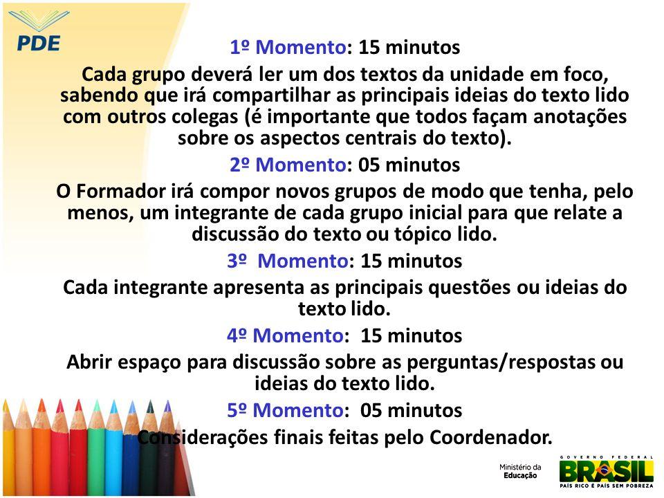 1º Momento: 15 minutos Cada grupo deverá ler um dos textos da unidade em foco, sabendo que irá compartilhar as principais ideias do texto lido com out
