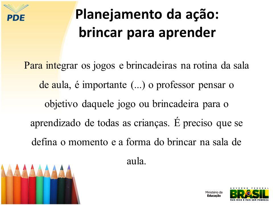 Planejamento da ação: brincar para aprender Para integrar os jogos e brincadeiras na rotina da sala de aula, é importante (...) o professor pensar o o
