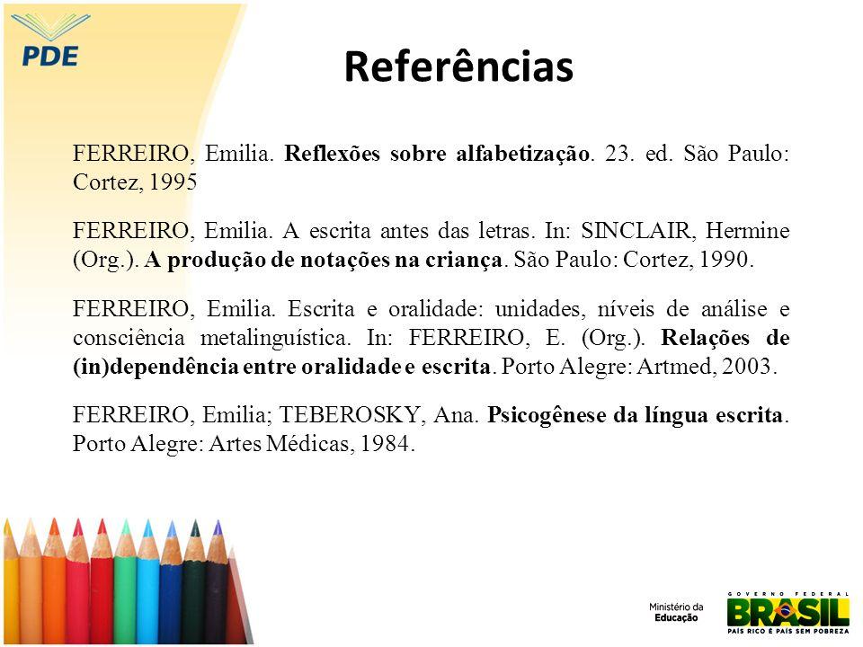 Referências FERREIRO, Emilia. Reflexões sobre alfabetização. 23. ed. São Paulo: Cortez, 1995 FERREIRO, Emilia. A escrita antes das letras. In: SINCLAI