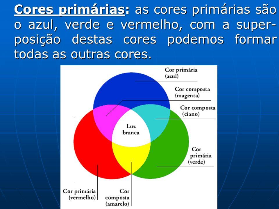 Cores primárias: as cores primárias são o azul, verde e vermelho, com a super- posição destas cores podemos formar todas as outras cores.