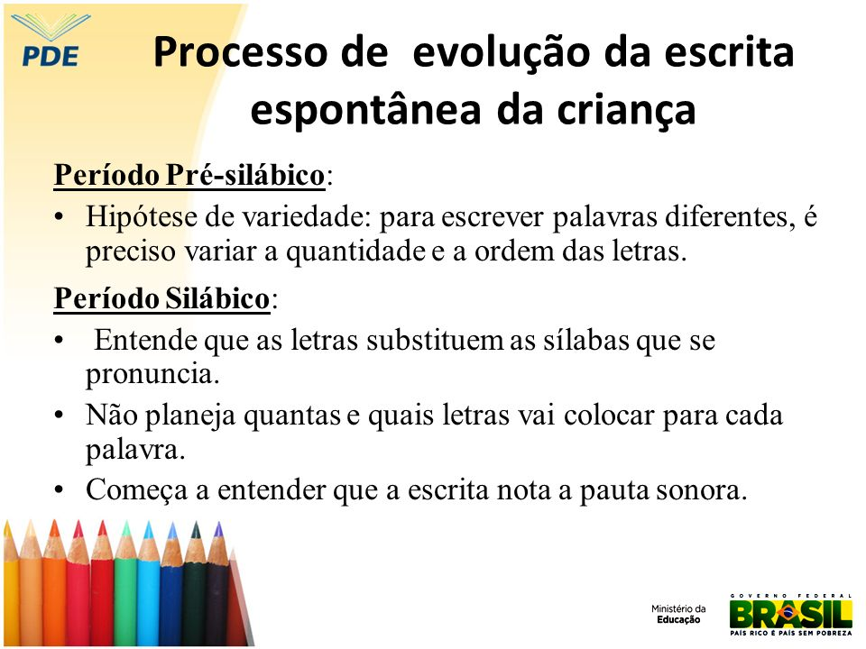 Processo de evolução da escrita espontânea da criança Período Silábico: Sílabas quantitativas - a criança tende a colocar uma letra para cada sílaba pronunciada.