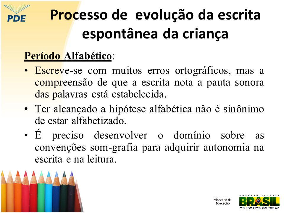 Processo de evolução da escrita espontânea da criança Período Alfabético: Escreve-se com muitos erros ortográficos, mas a compreensão de que a escrita