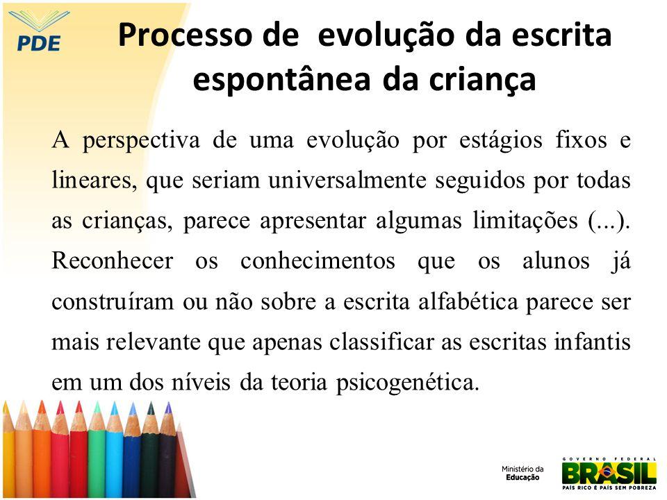Processo de evolução da escrita espontânea da criança A perspectiva de uma evolução por estágios fixos e lineares, que seriam universalmente seguidos