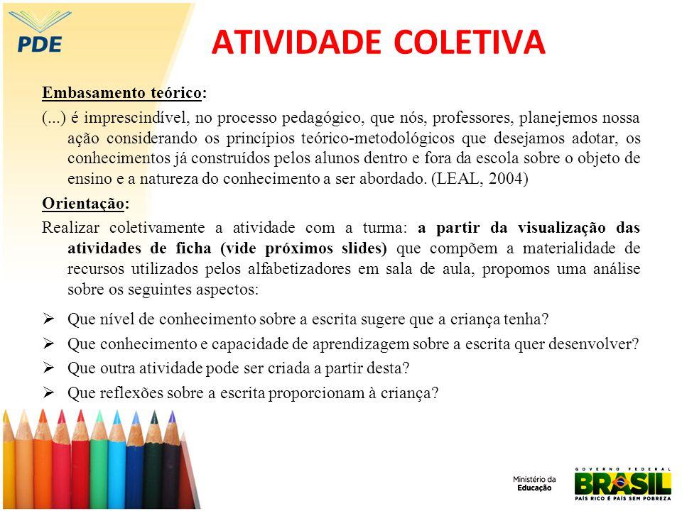 ATIVIDADE COLETIVA Embasamento teórico: (...) é imprescindível, no processo pedagógico, que nós, professores, planejemos nossa ação considerando os pr
