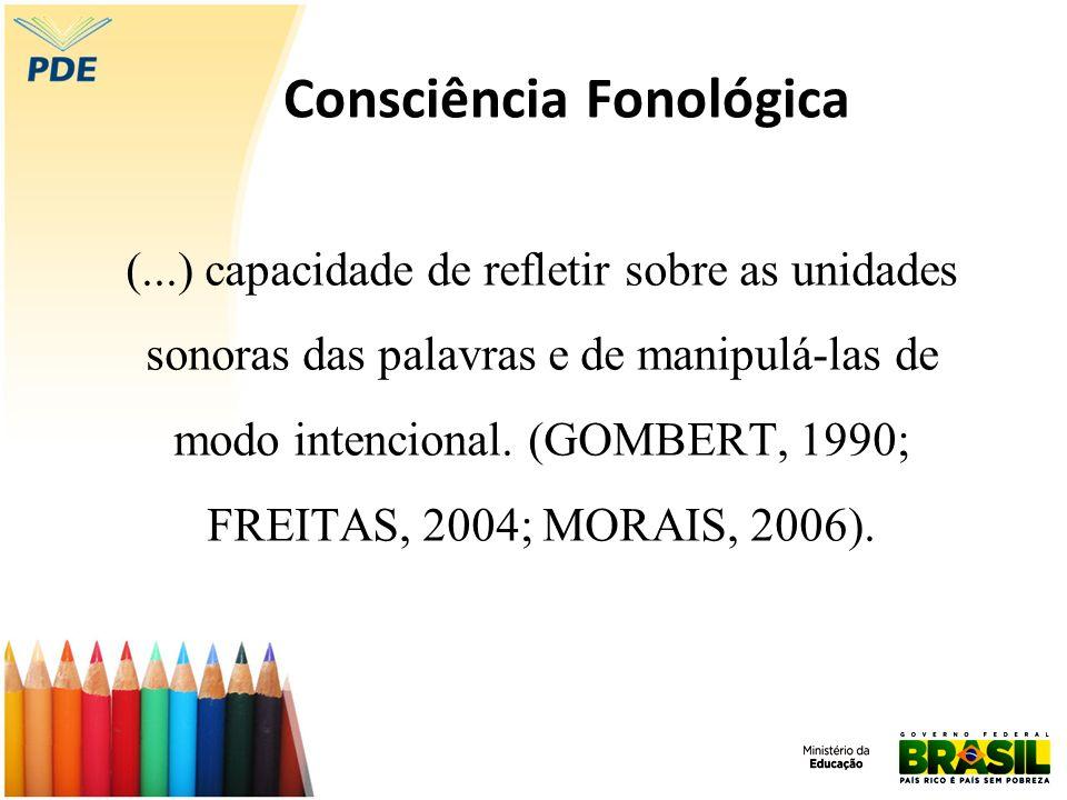 Consciência Fonológica (...) capacidade de refletir sobre as unidades sonoras das palavras e de manipulá-las de modo intencional. (GOMBERT, 1990; FREI