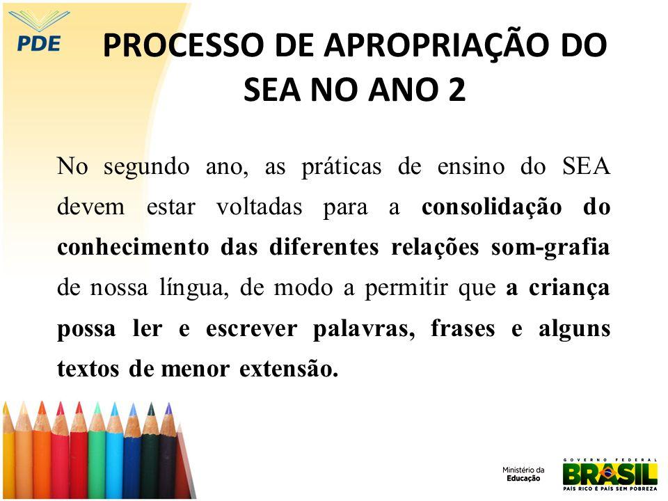 PROCESSO DE APROPRIAÇÃO DO SEA NO ANO 2 No segundo ano, as práticas de ensino do SEA devem estar voltadas para a consolidação do conhecimento das dife