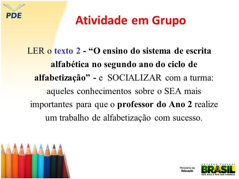 Atividade em Grupo LER o texto 2 - O ensino do sistema de escrita alfabética no segundo ano do ciclo de alfabetização - e SOCIALIZAR com a turma: aque