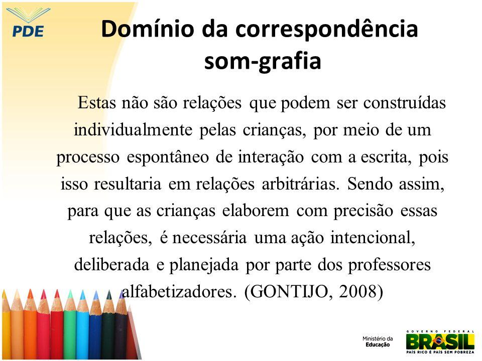 Domínio da correspondência som-grafia Estas não são relações que podem ser construídas individualmente pelas crianças, por meio de um processo espontâ