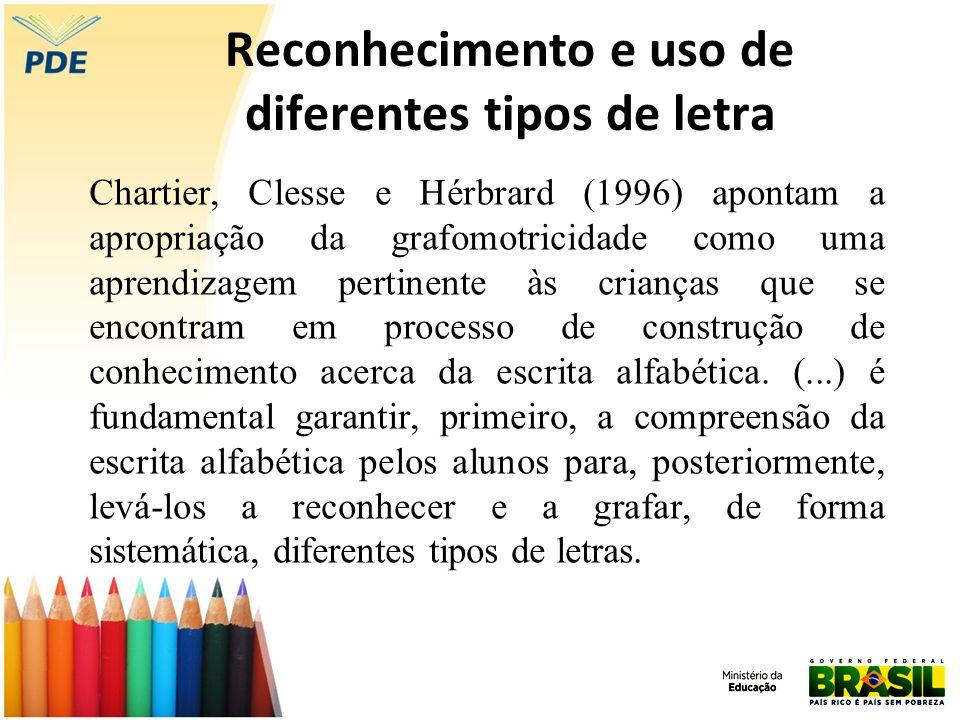 Reconhecimento e uso de diferentes tipos de letra Chartier, Clesse e Hérbrard (1996) apontam a apropriação da grafomotricidade como uma aprendizagem p