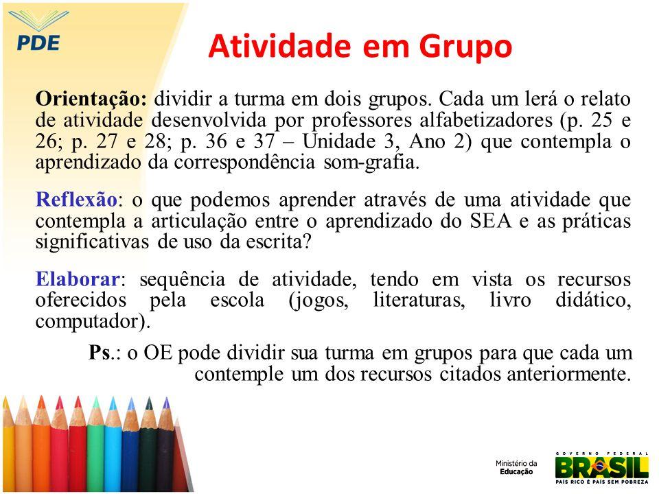 Atividade em Grupo Orientação: dividir a turma em dois grupos. Cada um lerá o relato de atividade desenvolvida por professores alfabetizadores (p. 25