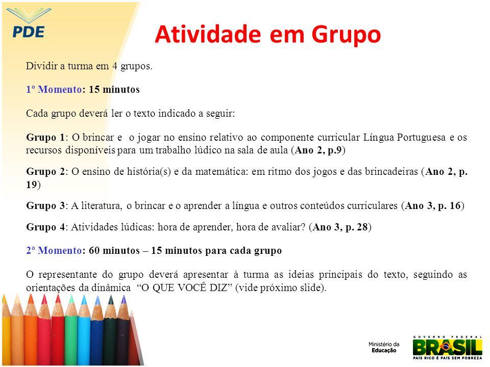 Atividade em Grupo Dividir a turma em 4 grupos. 1º Momento: 15 minutos Cada grupo deverá ler o texto indicado a seguir: Grupo 1: O brincar e o jogar n