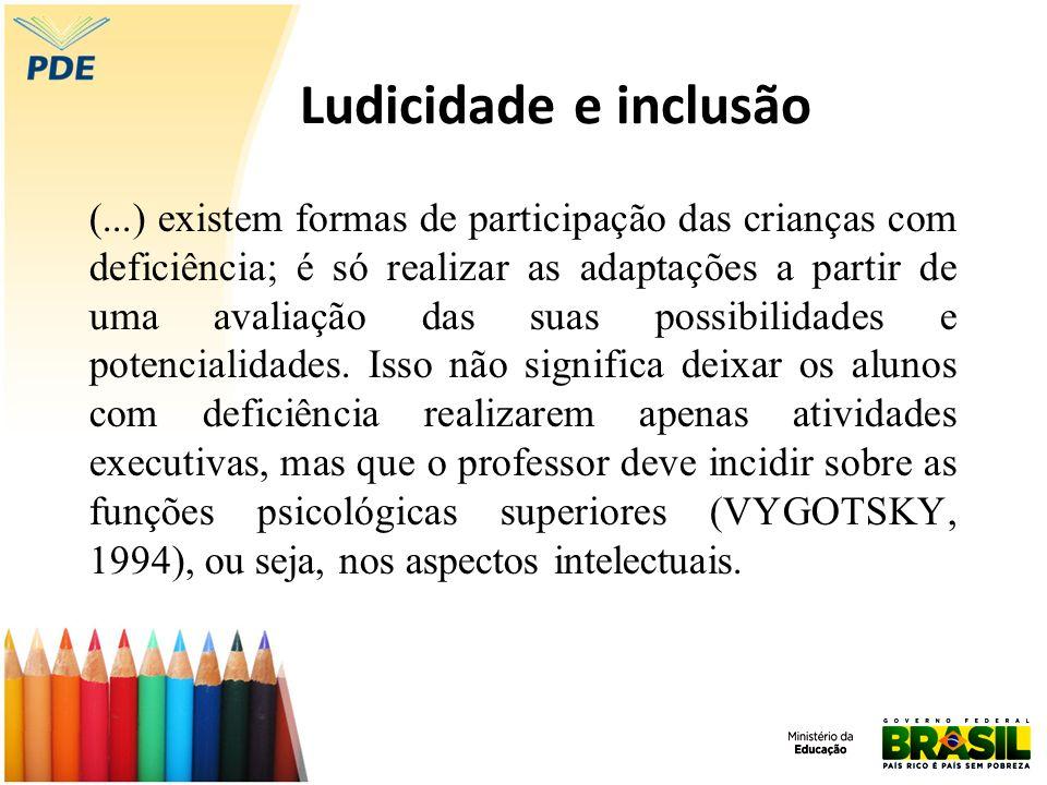 Ludicidade e inclusão (...) existem formas de participação das crianças com deficiência; é só realizar as adaptações a partir de uma avaliação das sua