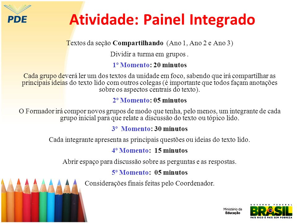 Atividade: Painel Integrado Textos da seção Compartilhando (Ano 1, Ano 2 e Ano 3) Dividir a turma em grupos. 1º Momento: 20 minutos Cada grupo deverá