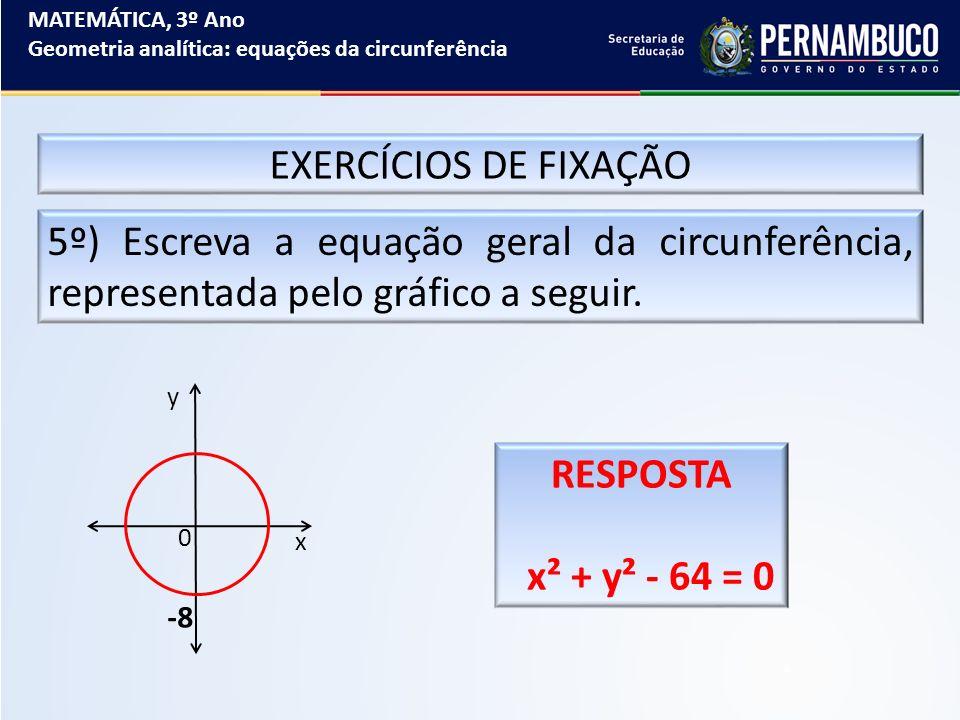 MATEMÁTICA, 3º Ano Geometria analítica: equações da circunferência EXERCÍCIOS DE FIXAÇÃO 5º) Escreva a equação geral da circunferência, representada p