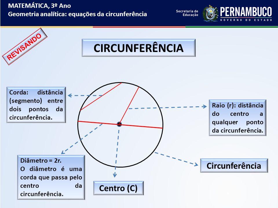 MATEMÁTICA, 3º Ano Geometria analítica: equações da circunferência EXERCÍCIOS DE FIXAÇÃO 4º) Verifique entre os pontos A(-1, 3), B(-1, 2), C(- 2, 3) e D(7, 2) quais pertencem à circunferência de equação (x – 3)² + (y + 1)² = 25.