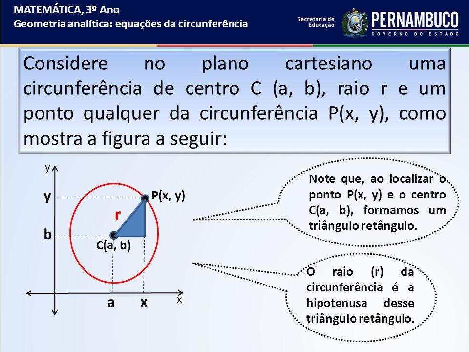 MATEMÁTICA, 3º Ano Geometria analítica: equações da circunferência Considere no plano cartesiano uma circunferência de centro C (a, b), raio r e um po