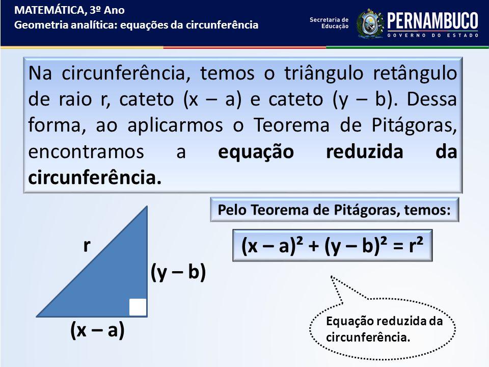 MATEMÁTICA, 3º Ano Geometria analítica: equações da circunferência Na circunferência, temos o triângulo retângulo de raio r, cateto (x – a) e cateto (