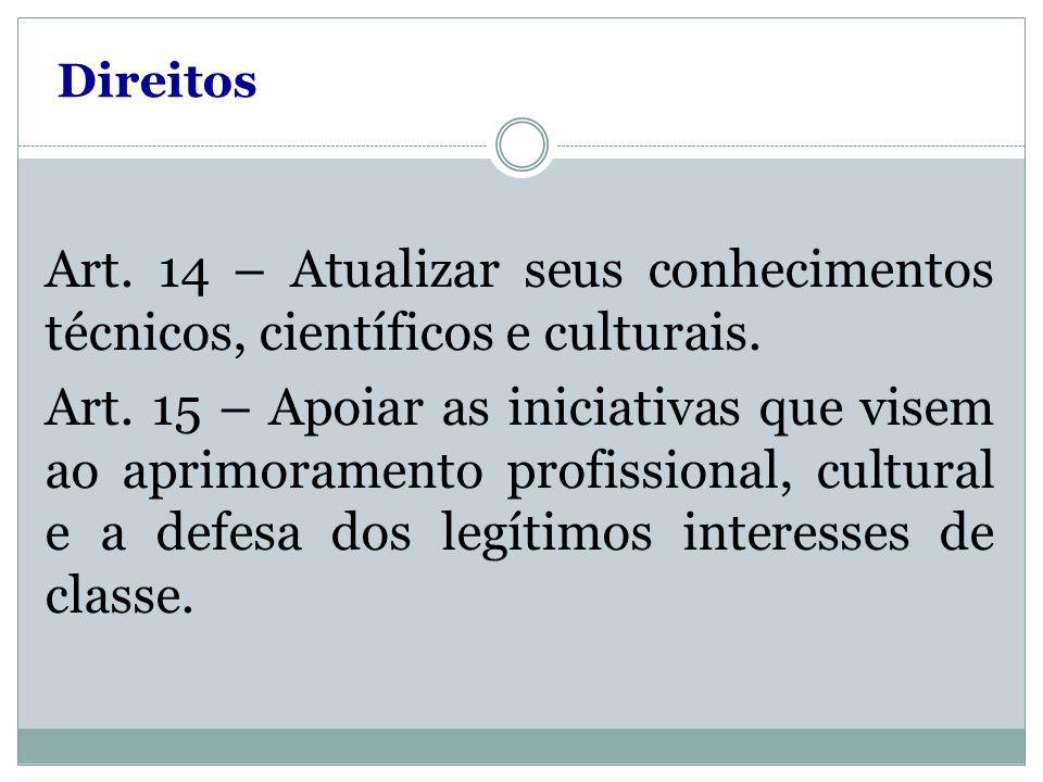 Direitos Art. 14 – Atualizar seus conhecimentos técnicos, científicos e culturais. Art. 15 – Apoiar as iniciativas que visem ao aprimoramento profissi