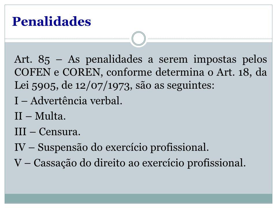 Penalidades Art. 85 – As penalidades a serem impostas pelos COFEN e COREN, conforme determina o Art. 18, da Lei 5905, de 12/07/1973, são as seguintes: