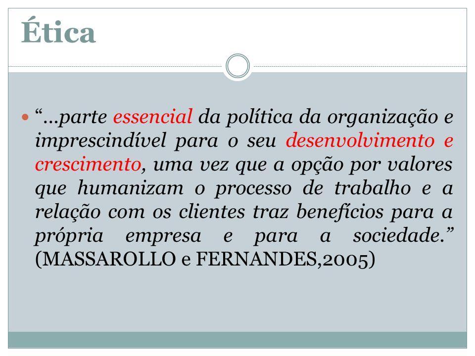 Ética...parte essencial da política da organização e imprescindível para o seu desenvolvimento e crescimento, uma vez que a opção por valores que huma