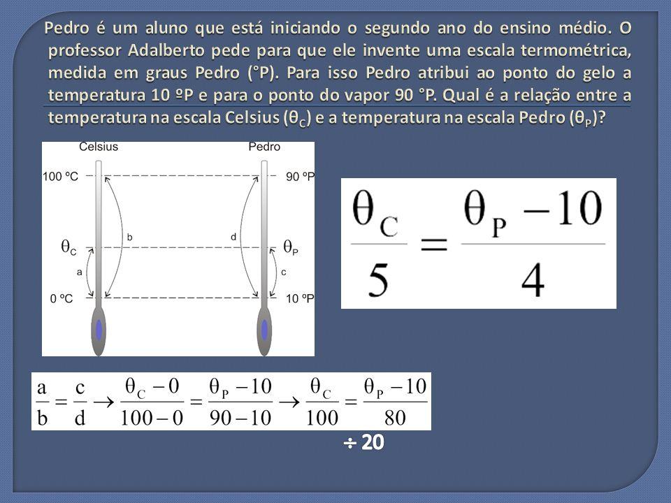 Estabeleça a fórmula de conversão entre as duas escalas.