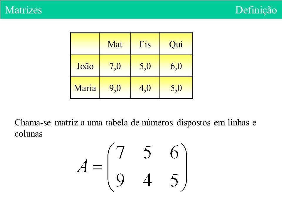 Matrizes Definição MatFisQui João7,05,06,0 Maria9,04,05,0 Chama-se matriz a uma tabela de números dispostos em linhas e colunas