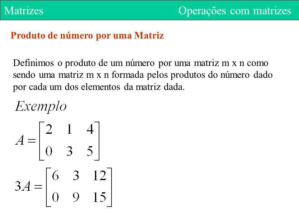 Matrizes Operações com matrizes Produto de número por uma Matriz Definimos o produto de um número por uma matriz m x n como sendo uma matriz m x n for
