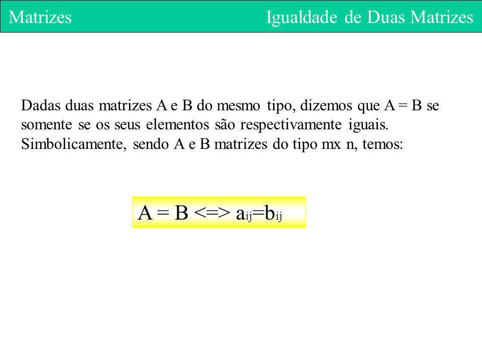 Matrizes Igualdade de Duas Matrizes Dadas duas matrizes A e B do mesmo tipo, dizemos que A = B se somente se os seus elementos são respectivamente igu