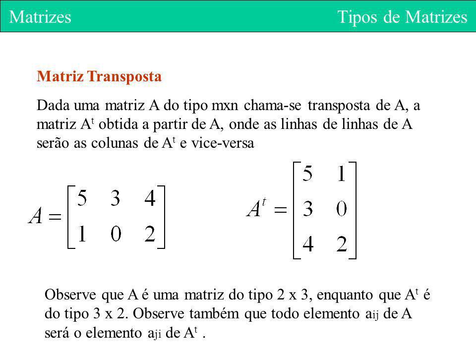 Matrizes Tipos de Matrizes Matriz Transposta Dada uma matriz A do tipo mxn chama-se transposta de A, a matriz A t obtida a partir de A, onde as linhas
