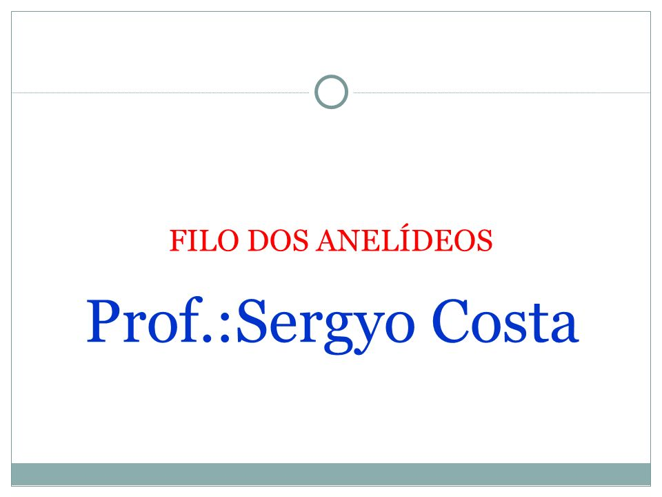 FILO DOS ANELÍDEOS Prof.:Sergyo Costa