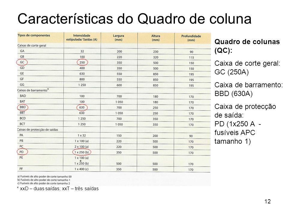 12 Características do Quadro de coluna Quadro de colunas (QC): Caixa de corte geral: GC (250A) Caixa de barramento: BBD (630A) Caixa de protecção de s
