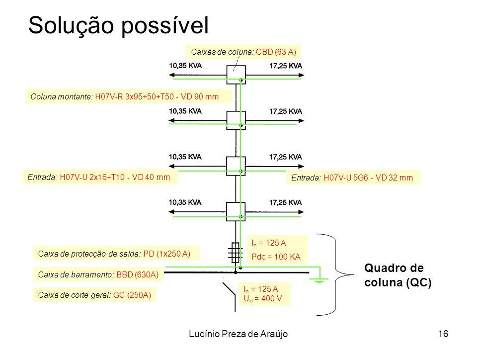 Lucínio Preza de Araújo16 Solução possível Coluna montante: H07V-R 3x95+50+T50 - VD 90 mm I n = 125 A Pdc = 100 KA I n = 125 A U n = 400 V Caixa de co