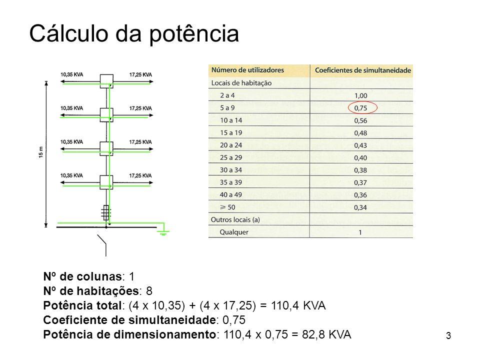 3 Cálculo da potência Nº de colunas: 1 Nº de habitações: 8 Potência total: (4 x 10,35) + (4 x 17,25) = 110,4 KVA Coeficiente de simultaneidade: 0,75 P