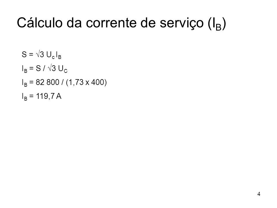 4 Cálculo da corrente de serviço (I B ) S = 3 U c I B I B = S / 3 U C I B = 82 800 / (1,73 x 400) I B = 119,7 A