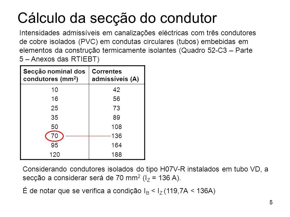5 Cálculo da secção do condutor Intensidades admissíveis em canalizações eléctricas com três condutores de cobre isolados (PVC) em condutas circulares