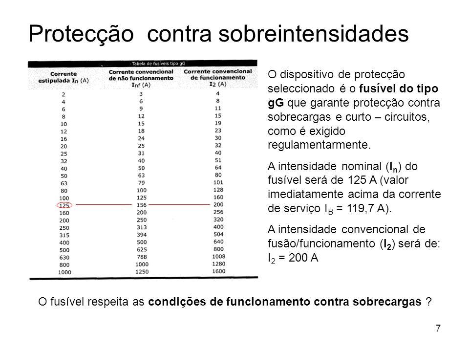 8 1ª condição: I B I n I Z 119,7 A < 125 A < 136 A – condição verificada 2ª condição: I 2 1,45 I Z 200A 1,45 x 136 200A 197,2A – condição não verificada Como a protecção contra sobrecargas não fica assegurada, em virtude de a 2ª condição não ter sido verificada, temos de seleccionar uma secção do condutor imediatamente acima, ou seja, 95 mm 2 (I Z = 164A) 1ª condição: I B I n I Z 119,7 A < 125 A < 164 A – condição verificada 2ª condição: I 2 1,45 I Z 200A 1,45 x 164 200A < 237,8A – condição verificada Protecção contra sobrecargas