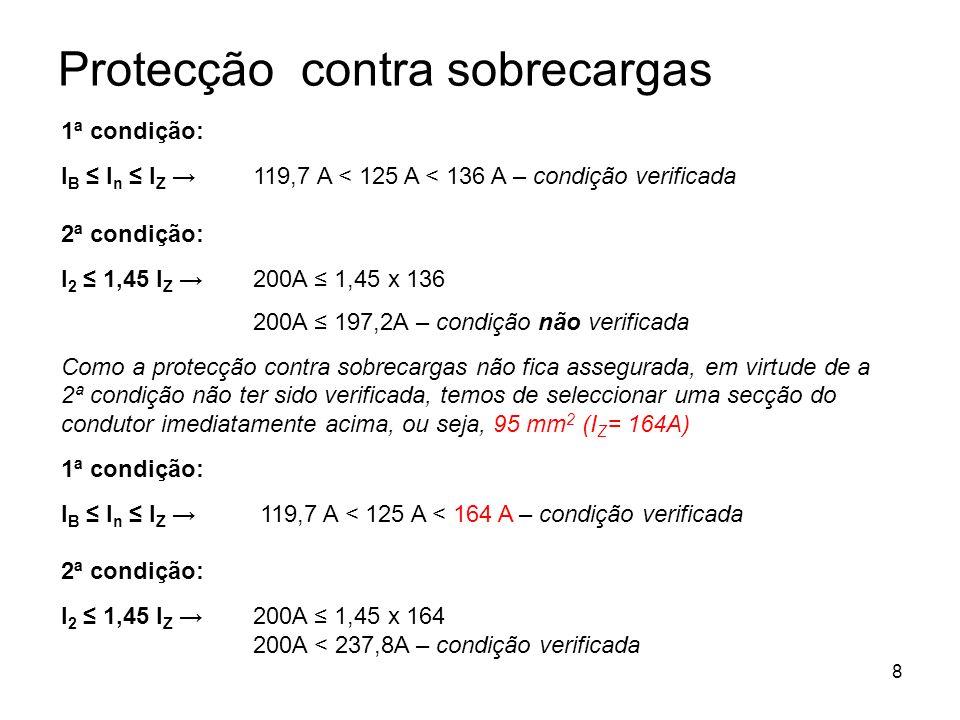 8 1ª condição: I B I n I Z 119,7 A < 125 A < 136 A – condição verificada 2ª condição: I 2 1,45 I Z 200A 1,45 x 136 200A 197,2A – condição não verifica