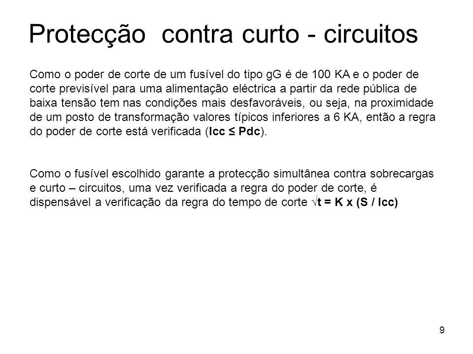 9 Protecção contra curto - circuitos Como o poder de corte de um fusível do tipo gG é de 100 KA e o poder de corte previsível para uma alimentação elé