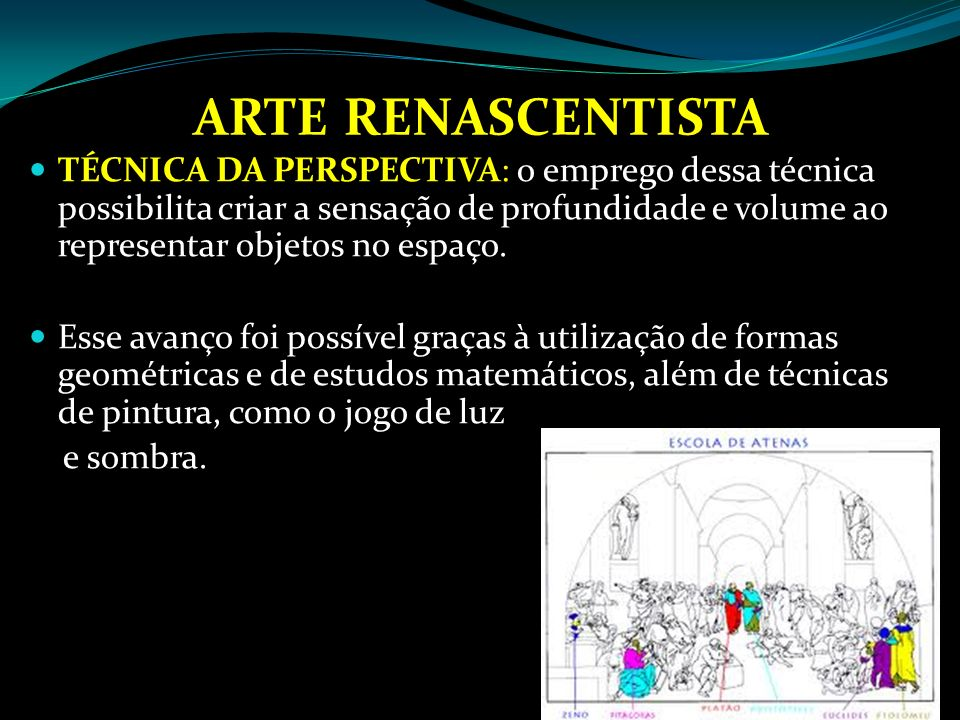 ARTE RENASCENTISTA ARQUITETURA GRECO-ROMANA: nas edificações de palácios e igrejas, os artistas retomaram as linhas retas e as colunas e arcos típicos das construções clássicas.