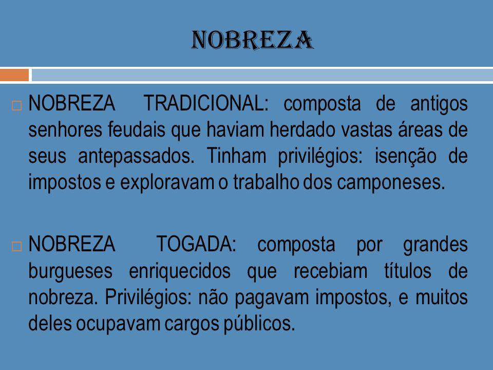 NOBREZA NOBREZA TRADICIONAL: composta de antigos senhores feudais que haviam herdado vastas áreas de seus antepassados. Tinham privilégios: isenção de