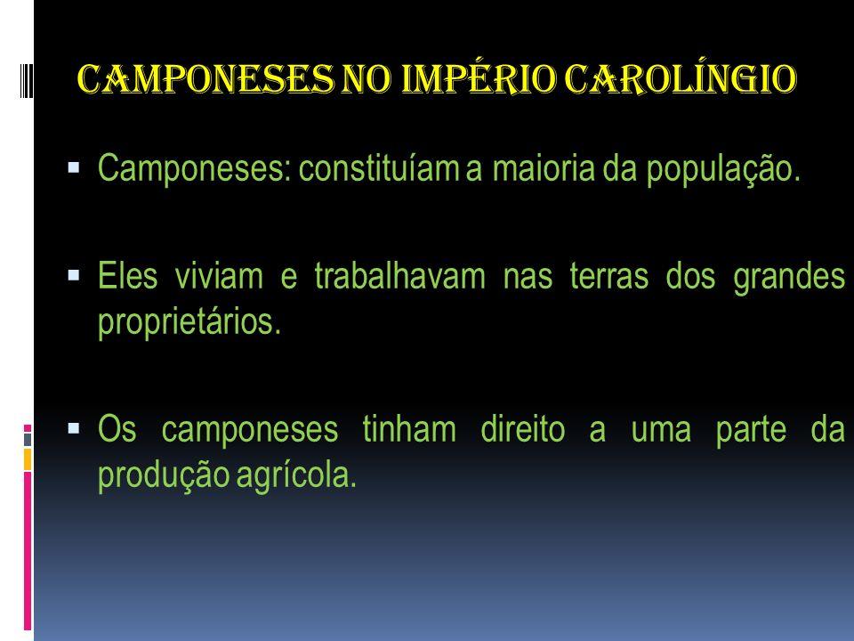 CAMPONESES NO IMPÉRIO CAROLÍNGIO Camponeses: constituíam a maioria da população. Eles viviam e trabalhavam nas terras dos grandes proprietários. Os ca