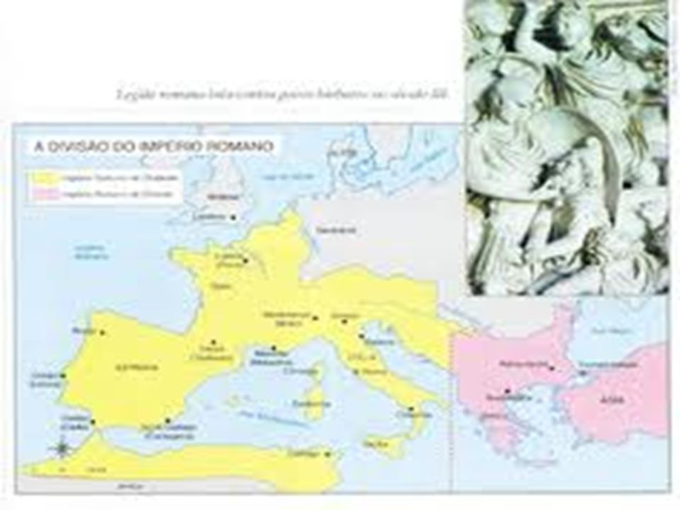 CRISTIANISMO 395: o imperador Teodósio dividiu o território do império entre seus dois filhos, dando origem ao Império Romano do Ocidente e Império Romano do Oriente.