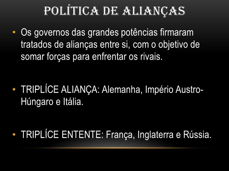POLÍTICA DE ALIANÇAS Os governos das grandes potências firmaram tratados de alianças entre si, com o objetivo de somar forças para enfrentar os rivais