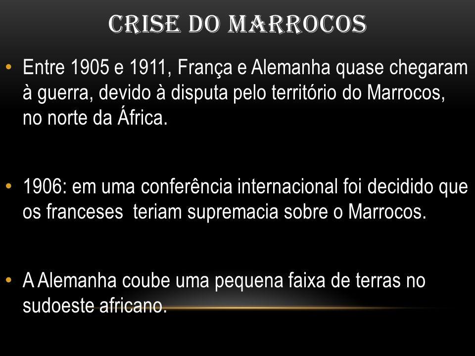 CRISE DO MARROCOS Entre 1905 e 1911, França e Alemanha quase chegaram à guerra, devido à disputa pelo território do Marrocos, no norte da África. 1906