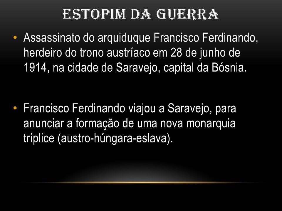 ESTOPIM DA GUERRA Assassinato do arquiduque Francisco Ferdinando, herdeiro do trono austríaco em 28 de junho de 1914, na cidade de Saravejo, capital d