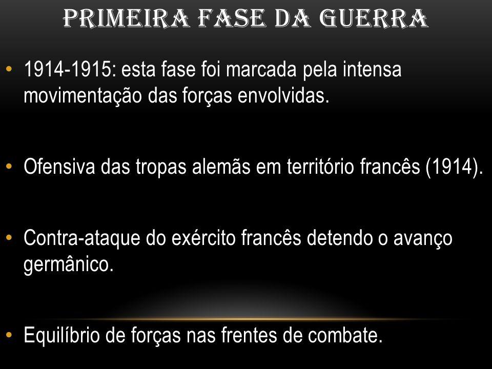 PRIMEIRA FASE DA GUERRA 1914-1915: esta fase foi marcada pela intensa movimentação das forças envolvidas. Ofensiva das tropas alemãs em território fra