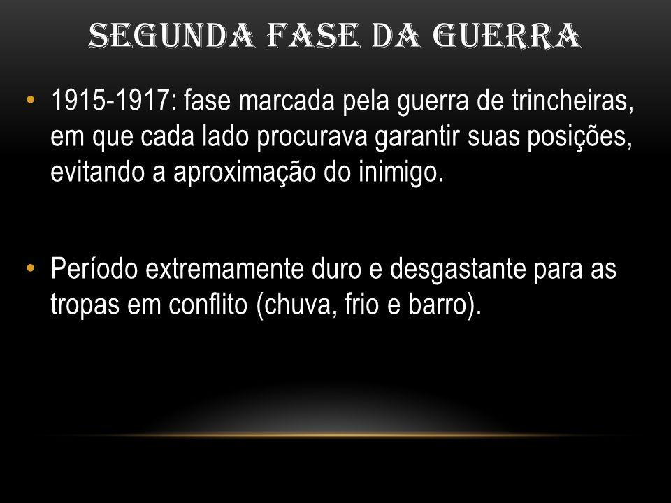 SEGUNDA FASE DA GUERRA 1915-1917: fase marcada pela guerra de trincheiras, em que cada lado procurava garantir suas posições, evitando a aproximação d
