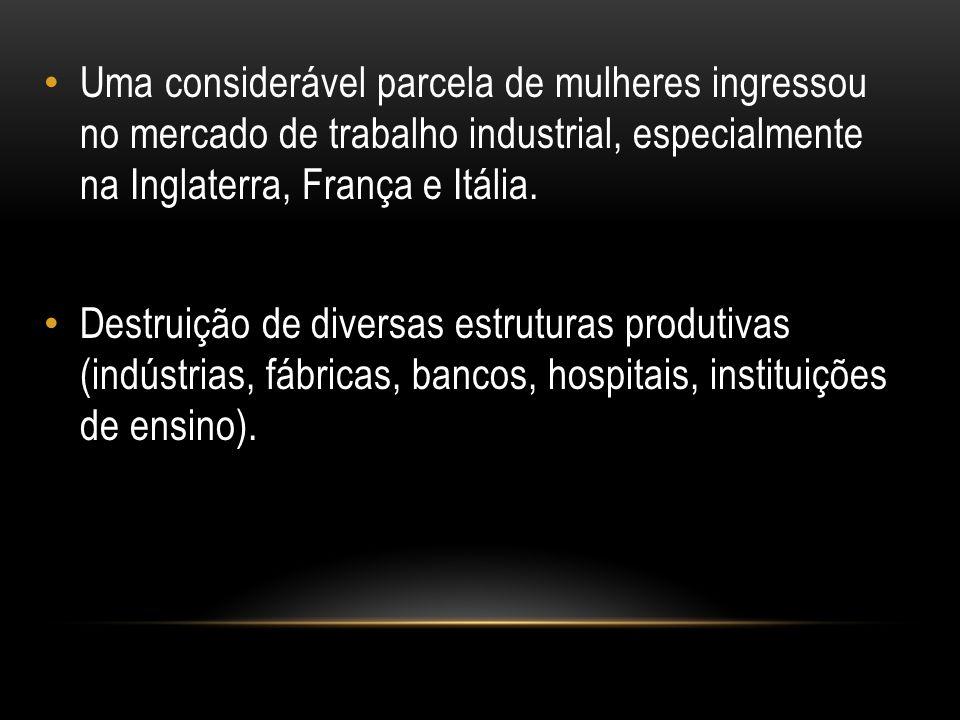 Uma considerável parcela de mulheres ingressou no mercado de trabalho industrial, especialmente na Inglaterra, França e Itália. Destruição de diversas